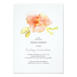 la ducha nupcial pintada acuarela de la flor invitación 12,7 x 17,8 cm