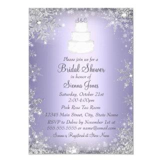 """La ducha nupcial púrpura del pastel de bodas del invitación 5"""" x 7"""""""