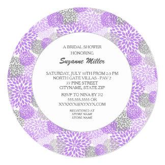"""La DUCHA NUPCIAL redonda de la dalia gris púrpura Invitación 5.25"""" X 5.25"""""""