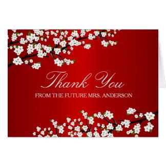 La ducha nupcial roja de la flor de cerezo le tarjeta pequeña