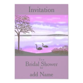 """La ducha nupcial RSVP de la escena del lago swans Invitación 5"""" X 7"""""""