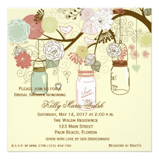 La ducha nupcial rústica del tarro de albañil del invitaciones personalizada