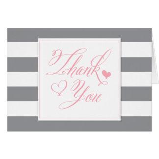 La ducha rayada y rosas claros grises le agradecen tarjeta pequeña