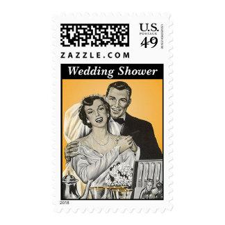La ducha retra de los pares del boda del estilo sello postal