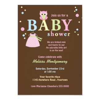 """La ducha rosada del búho y del vestido del bebé invitación 5"""" x 7"""""""