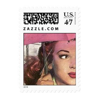La ducha rosada retra del día lluvioso del sello postal