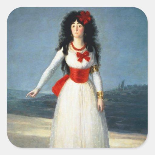 La duquesa de Alba, 1795 Pegatina Cuadrada