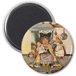 La duquesa y el bebé del cerdo en su cocina imán redondo 5 cm