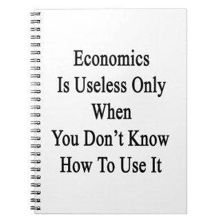 La economía es inútil solamente cuando usted no libro de apuntes con espiral