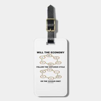 La economía seguirá el ciclo virtuoso vicioso etiquetas para maletas