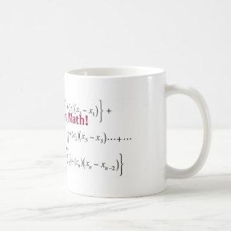 ¡la ecuación, allí no es ningún i en matemáticas! taza clásica