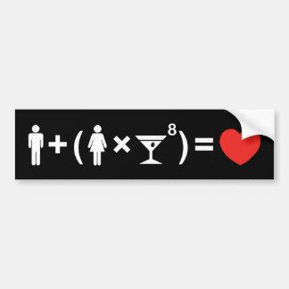 La ecuación del amor para las mujeres pegatina para auto