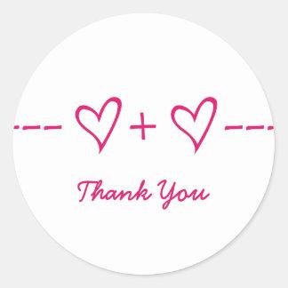 La ecuación rosada del corazón le agradece los peg