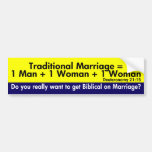La ecuación tradicional de la boda etiqueta de parachoque