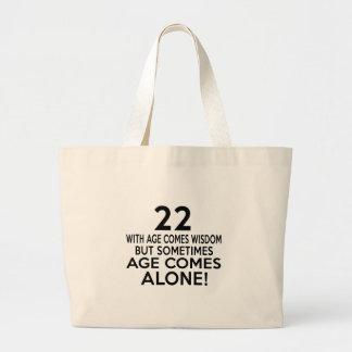 La edad 22 viene los diseños solos del cumpleaños bolsa tela grande