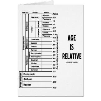 La edad es relativa (el humor del tiempo geológico tarjeta de felicitación
