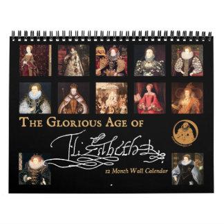 La edad gloriosa del calendario de pared de Elizab