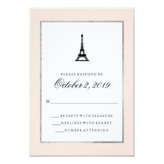"""La elegancia de París se ruboriza plata rosada y Invitación 3.5"""" X 5"""""""