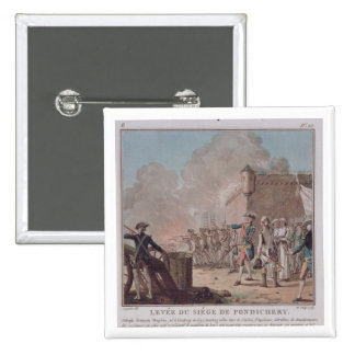 La elevación del cerco de Pondicherry, 1748, graba Pin Cuadrado