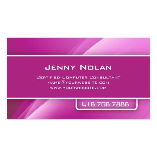 La empresa informática carda rayos abstractos rosa tarjetas de negocios