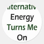 La energía alternativa me gira pegatina redonda