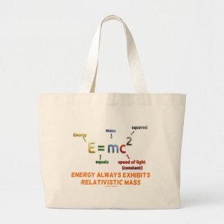 La energía E=mc^2 exhibe siempre la masa Bolsa Tela Grande