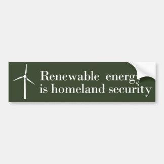 La energía renovable es seguridad de patria pegatina para auto