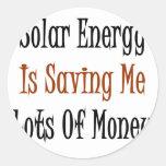 La energía solar me está ahorrando las porciones pegatinas redondas