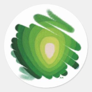 La energía verde de Chakra del corazón tuerce en Pegatina Redonda