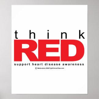 La enfermedad cardíaca PIENSA rojo Impresiones