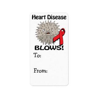 La enfermedad cardíaca sopla diseño de la concienc etiqueta de dirección