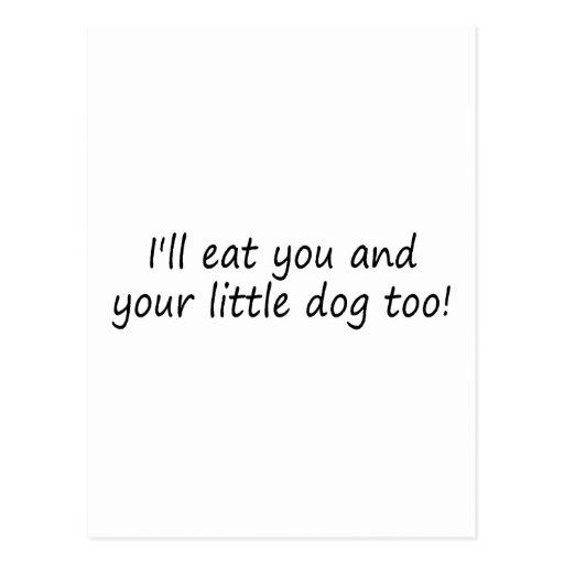 La enfermedad come le y su pequeño perro también tarjeta postal
