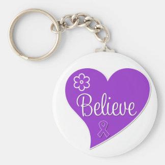 La enfermedad de Alzheimers cree Purple Heart Llavero Redondo Tipo Pin