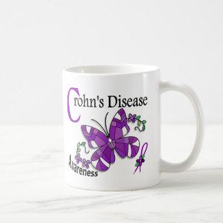 La enfermedad de Crohn de la mariposa 2 del vitral Taza Básica Blanca