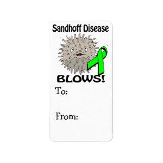 La enfermedad de Sandhoff sopla diseño de la Etiquetas De Dirección