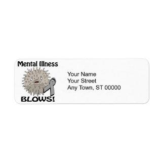 La enfermedad mental sopla diseño gris de la etiquetas de remite
