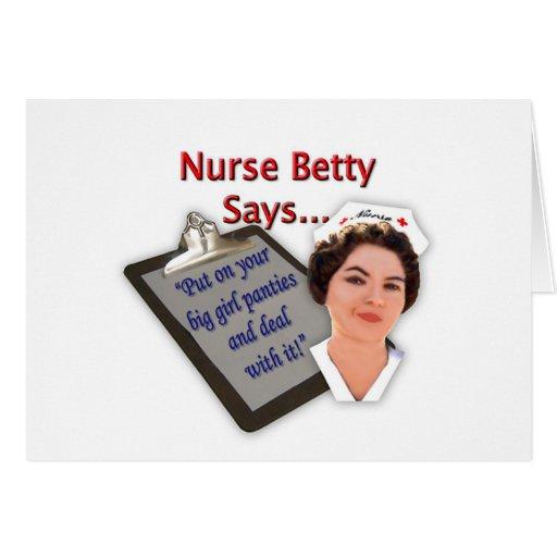 """La enfermera Betty dice, """"puesto sus bragas grande Tarjeta De Felicitación"""