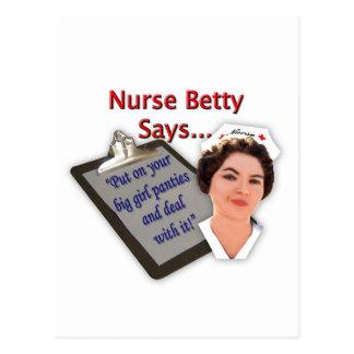 """La enfermera Betty dice, """"puesto sus bragas Postal"""