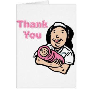 la enfermera del chica le agradece tarjeta pequeña
