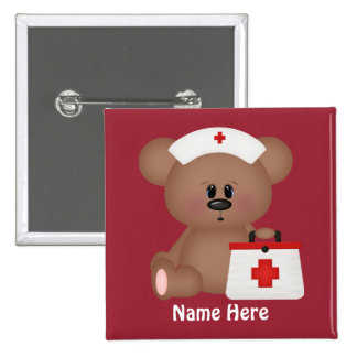 La enfermera del dibujo animado añade el botón pins