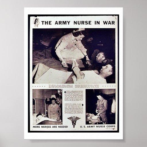 La enfermera del ejército en guerra póster