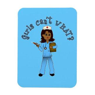 La enfermera en azul friega (la oscuridad) imán foto rectangular