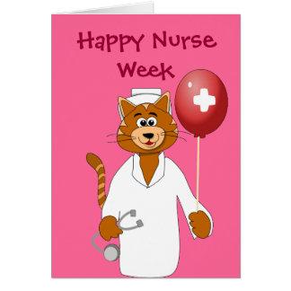 La enfermera feliz del gato del dibujo animado de  tarjeta de felicitación