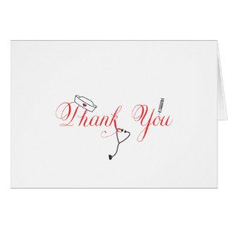La enfermera le agradece observar la caligrafía tarjeta pequeña