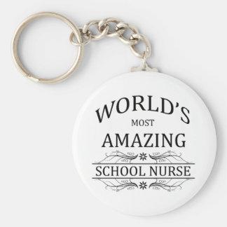 La enfermera más asombrosa de la escuela del mundo llavero redondo tipo pin