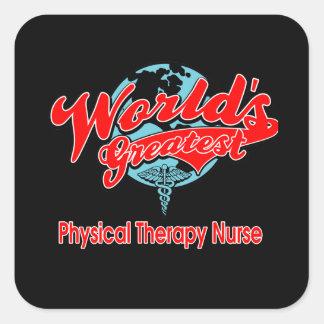 La enfermera más grande de la terapia física del pegatina cuadrada