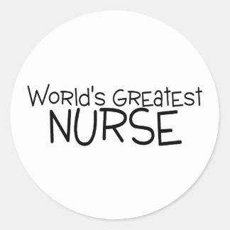 La enfermera más grande de los mundos pegatina redonda