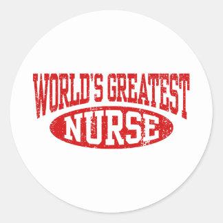 La enfermera más grande del mundo pegatina redonda
