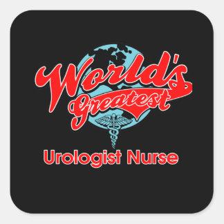 La enfermera más grande del urólogo del mundo pegatina cuadrada