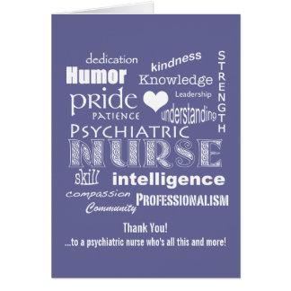 La enfermera psiquiátrica le agradece redactar la tarjeta de felicitación